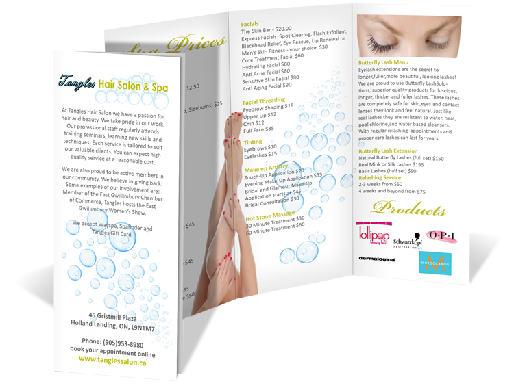tangles hair salon and spa tri fold brochure design newmarket web