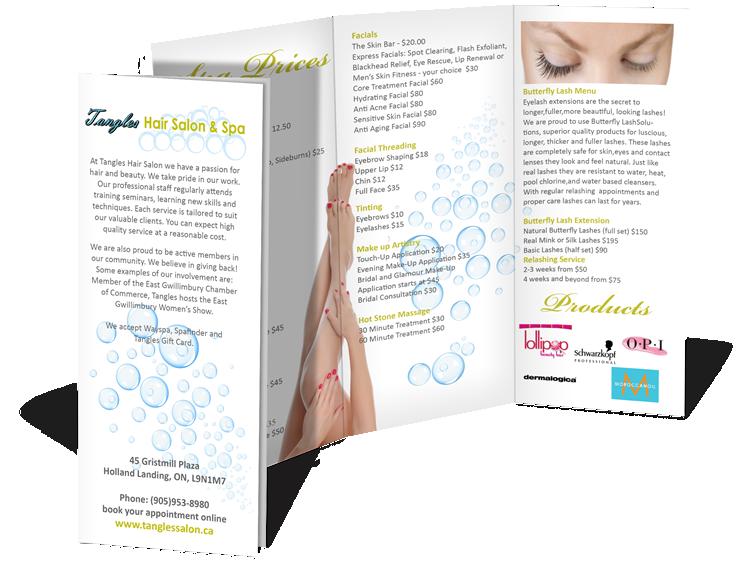 Tangles Hair Salon and Spa tri-fold Brochure Design