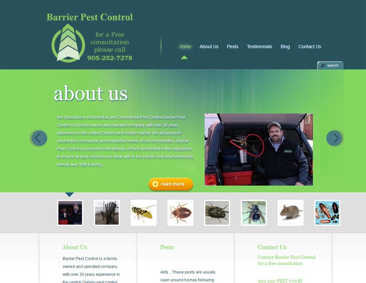 image of Barrier Pest Control website