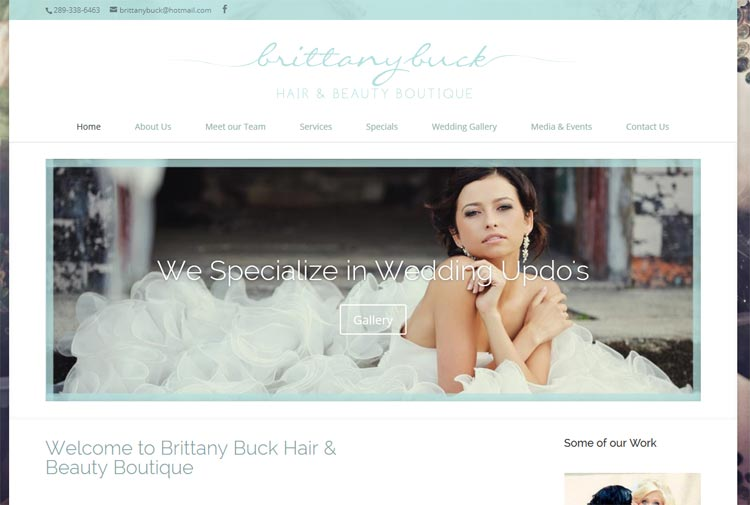 image of Brittany Buck hair and Beauty Boutique website