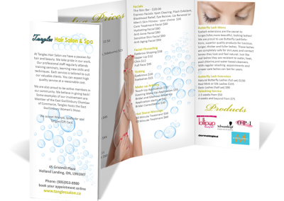 Tangles Hair Salon and Spa tri-fold Brochure Design
