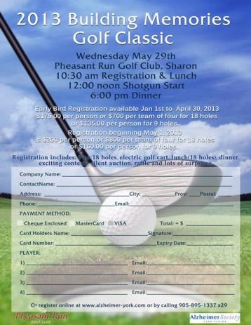 Flyer design for Alzheimer's Golf Tournament